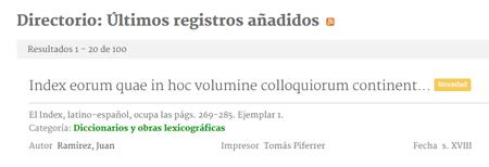 Últimos registros bibliográficos de la Biblioteca Virtual de la Filología Española